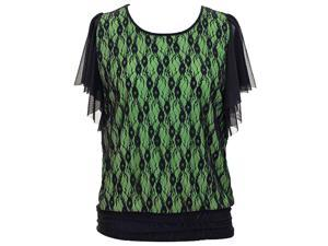 Green Top With Black Lace Overlay & Wispy Short Sleeves