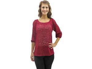 Magenta Sheer Floral Lace Dolman Sleeve Blouse Top