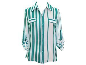 Teal & White Striped Chiffon Blouse With Button Tab Sleeves
