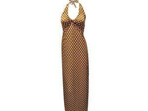 Camel & White Polka Dot Halter Style Long Maxi Dress