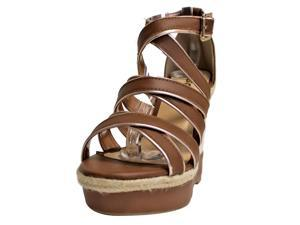 Brown & Tan Strappy High Heel Wedge Espadrille Pumps