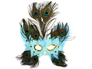 Light Blue Butterfly Peacock Feather Mask