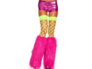 Hot Pink & Silver Faux Fur Leg Warmers