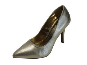 Gold Metallic Leather Pointed Toe Classic Elegant Pumps