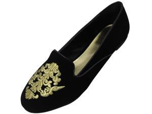 Black Suede Loafer Style Flats With Regal Gold Embroidered Trim