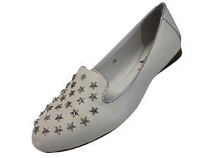 White Genuine Leather Silver Star Studded Loafer Style Flats