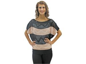 Black & Pink Semi Sheer Striped Open Knit Sweater Top