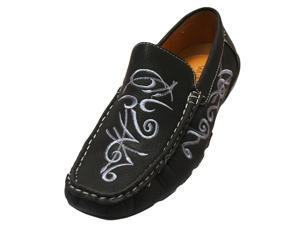 Black With Silver Tribal Print Men's Loafer Style Shoes