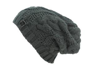 Charcoal Grey Slouchy Cable Knit Beanie Cap Hat