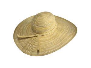 "Tan Metallic 6"" Wide Flat Brim Floppy Sun Hat"