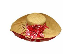 Soft Raffia Floppy Hat With Red & White Bow
