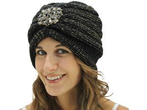 Black Knit Turban With Beaded Broach