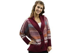 Burgundy Multi Print Heavy Knit Loose Fit Cardigan