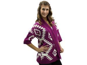 Plum & White Aztec Open Front Collar Heavy Sweater