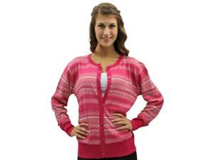 Pink & White Aztec Tribal Print Button Down Sweater