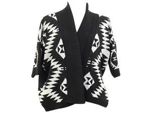 Black & White Plus Size Aztec Open Front Sweater
