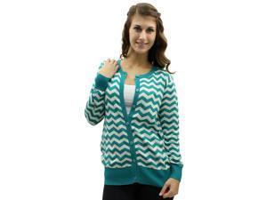 Aqua Blue & White Chevron Crew Neck Button Sweater