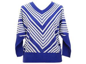 Royal Blue & White Plus Size V-Neck Dolman Sweater