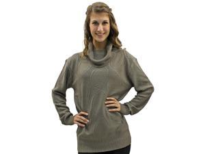 Taupe Knit Pattern Turtle Neck Long Sleeve Sweater