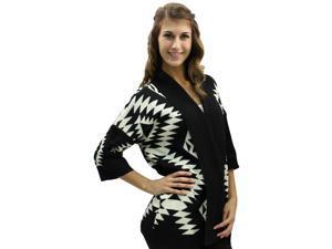 Black & White Aztec Open Front Collar Heavy Sweater