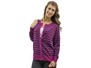 Purple & Black Chevron Crew Neck Button Sweater