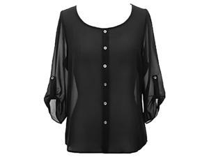 Black Crepe Chiffon Semi Sheer Blouse Top With Button Tab Sleeves