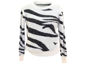 White & Black Eyelash Fuzzy Animal Sweater Plus Size