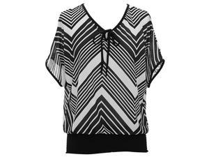 Black & White Chevron Print Short Sleeve Billowy Top