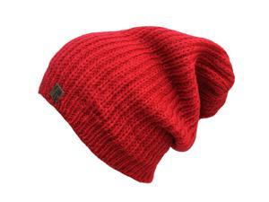 Red Mohair Slouch Knit Beanie Cap Hat