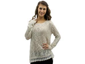 Beige & Ivory Lace Trim Wide Neck Knit Sweater Top
