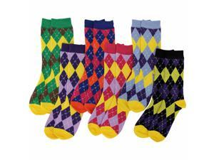 Colorful Funky Argyle Print 6 Pack Assorted Crew Socks