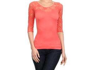 Coral Pink Lightweight Three Quarter Sleeve Top With Lace Trim