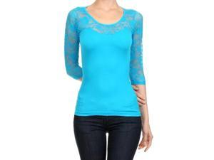 Turquoise Lightweight Three Quarter Sleeve Top With Lace Trim