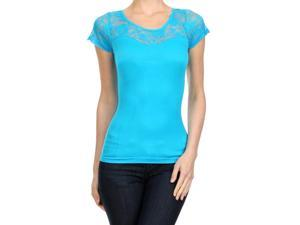 Turquoise Short Sleeve Lightweight Fashion Top With Floral Lace Trim