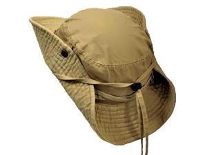 Khaki Cotton Safari Hat With Chin Cord & Snap Sides