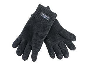 Black Knit Microfiber Thermolate Men's Gloves