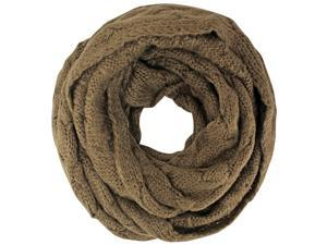 Brown Oversize Chunky Cable Knit Infinity Scarf