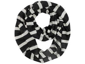 Black & White Striped Light Infinity Scarf