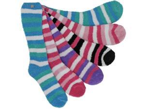 Long Striped Assorted 6 Pack Thick Fuzzy Socks