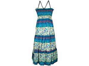 Multi Blue & Cream Scrolled Floral Boho Indie Print Maxi Dress