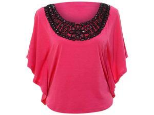 Fuchsia Elegant Jersey Knit Kaftan Top With Sequin Scoop Neckline