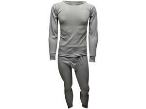 Light Gray Men's Thermal Crew Neck Top & Long Johns Underwear Set