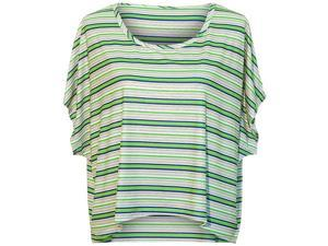 Lime Beige & White Striped High-Low Short Sleeve Blouse Top