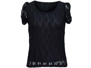 Black Junior Cut Lined Lace Scoop Neck Top With Ruched Sleeves