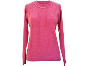 Petal Pink Cable Knit Crew Neck Long Sleeve Sweater