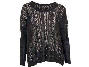 Black High-Low Long Sleeve Thin Open Knit Sweater