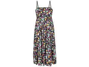 Multicolor Poppy Floral Print Empire Waist Long Maxi Sun Dress