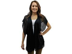 Black Open Knit Crochet Cardigan Cover-Up