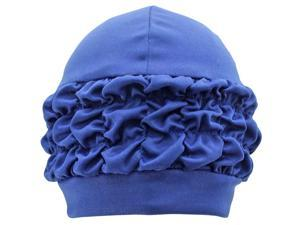 Navy Blue Swim Bathing Turban Cap With Ruffled Trim