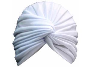 White Radiant Pleated Turban Bathing Cap